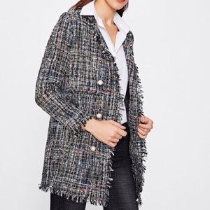 Zara tweed jacket with accent pearl